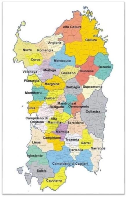 Immagini Della Cartina Geografica Della Sardegna.Le Regioni Storiche Della Sardegna